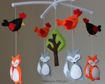 SALE! Woodland mobile musical farm cot mobile fox mobile woodland nursery decor fox hen chicken baby mobile