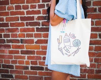 Momomints Crafty Supplies Tote Bag - Art Supplies Canvas Bag - Crafts Tote Bag - Book Bag - School Bag