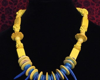 Yellow and Blue Coconut wood necklace