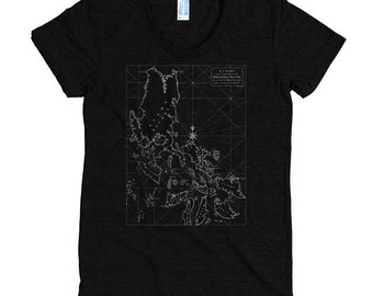 Philippines Map Women's T-Shirt/Filipina T-Shirt, Pinay T-Shirt/A Chart of the Channel in the Phillippine Islands