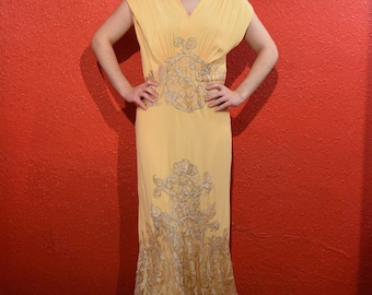 1930s Peach Crepe Lace Dress