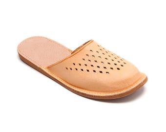 Handmade Summer Leather Slippers  | Folk-Inspired Womens Shoes