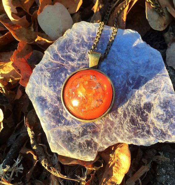 Human Template Orgone Energy Generator- Flower of Life Cosmic Energy Orgonite® Pendant- Orange Gaia Orgonite® Charm- Empowerment & Boldness