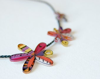 Flowers necklace, enamel flower jewelry, spring illustrated necklace