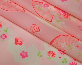 Vintage, pink floral and fan wool kimono juban muslin fabric - by the yard