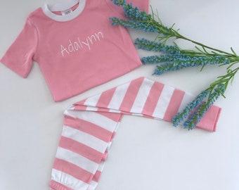 Monogrammed Girls Pajama's  - Pink and White Striped PJs - Easter PJs - Spring PJs