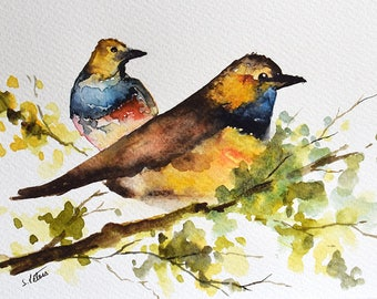 Original Watercolor Bird Painting, Colorful Birds in a Tree 6x8 Inch