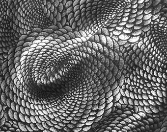 Leather 3 - 6 sq ft  Chinese Dragon SILVER Metallic On Black Calfskin 3-3.5 oz/ 1.2-1.4mm PeggySueAlso™ E1420-08