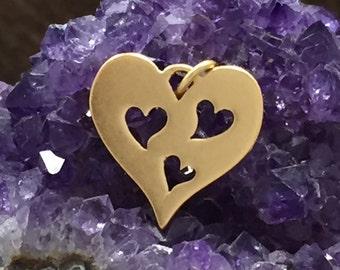 Heart Charm, Heart Pendant, Three Cut Out Heart Charm, Gold Heart Charm, Heart Cut Out Charm, Motherand Child Heart Charm, PG0153