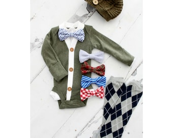 Newborn Baby Boy Coming Home Outfit Set of 4 Items. Cardigan Bodysuit, Bow Tie Bodysuit, Leg Warmers & Knit Newsboy Hat. Easter Outfit