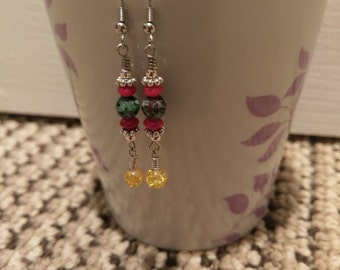 Multicolored Stone and Glass Bead Earrings