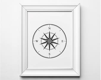 Compass Print, Black and White Compass Wall Art, Nautical Home Decor, Nautical Art, Compass Art, Nautical Print, Printable Art, Printables