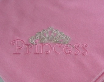 Ready to Ship Princess & Crown Lightweight Embroidered Fleece Blanket