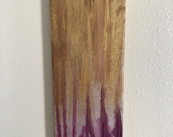 Abstract Maroon Cypress Trees Acrylic Painting on Stretched Canvas