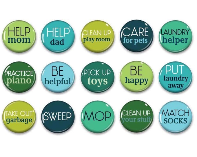 Chore Magnets - Teen Chores - Family Responsibility - Family Organization - Chore Chart - Kids Jobs - Green Blue - Chore Charts