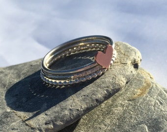 Mixed Metal Heart Stacking Ring Set, Three Ring Stack, Beaded Ring, Sterling Silver Rings, Copper Heart Ring, Bubble Ring, Textured Ring