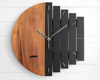 Industrial Wall Clock, Unique Wall Clock, Gift Clock, Unusual Wall Clock, Component Clock, Wood Clock, Abstract Style, Industrial Decor