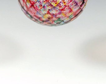 Hand Blown Glass Ornament:  Pink Mix Faceted Sphere