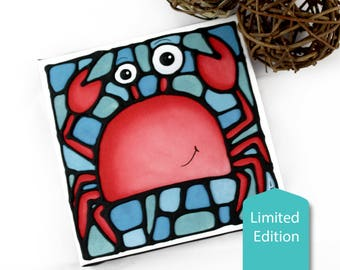 Crab Canvas Print - Limited Edition - Hand-Painted Outlines - Under the Sea Theme - Ocean Animal Print - Nursery Decor - Newborn Bedroom Art