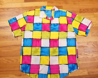 Vintage 80s Abstract Pattern Neon Button Up Shirt