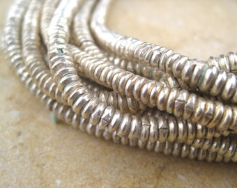 Silver Heishi Beads  From the Villages of Ethiopia! African Metal Beads - Silver Spacers - Wholesale African Beads - Silver Beads 249