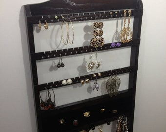 ON SALE Jewelry Organizer Ring Holder, Cocoa Brown Stained Earring Storage, Wall Mount, Bracelet Rack, Oak Hardwood Wood Necklace Display