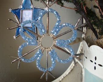 Vintage Christmas Snowflake ornaments Bead ornaments Blue and silver set of 3 photo frame ornaments