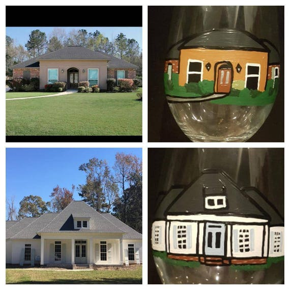 Custom painted house wineglass