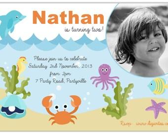 Baby Boy Invitation/1st Birthday boy invitation/Boy Invitation/Under the sea/First Birthday boy invitation/Photo Invitation/Printable