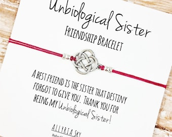 "Charm Friendship Bracelet with ""Unbiological Sister"" Card 
