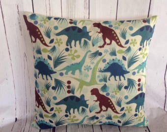 Dinosaurs,Duck Feather pillow insert and Cotton Linen Cover, 18×18, Free Shipping..Dino,Dinosauar,cute and fun pillow, kids pillow