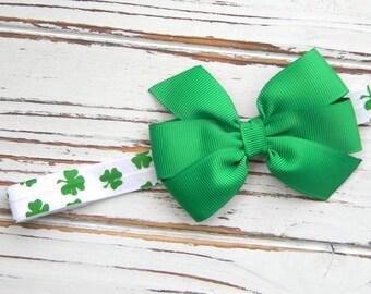 St. Patricks Day Bow Headband, St. Patricks Day Headband, Clover Bow Headband