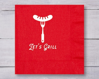 Luncheon Napkins, Cookout Napkins, Custom Napkins, Party Napkins, Wedding Napkins, Lunch Napkins, BBQ, Let's Grill, Barbecue Napkins, 1377