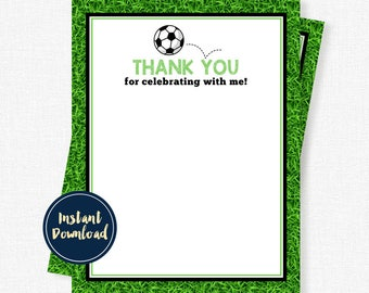 Soccer Ball Thank You Cards, Birthday Thank You, Boys Thank You Cards, Soccer Party Printable INSTANT DOWNLOAD