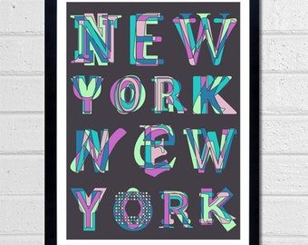 New York NYC Typographic Wall Art - New York City - Typography - The Big Apple - Text art