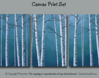 Birch tree painting Print set, Canvas wall art, Blue artwork, Oversized Large, Office decor, White gray home decor, Dining, Master bedroom