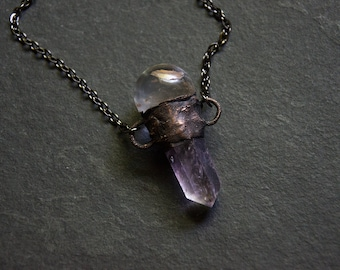 Amethyst Crystal Point Necklace with Clear Quartz Crystal Ball Sphere   Electroformed Copper   Crystal Ball Necklace   Purple Crystal