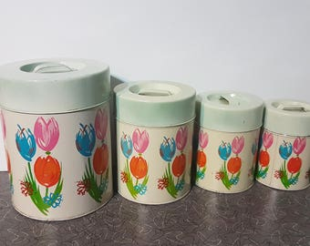 Vintage Tin Canister Set Adorable Tulips Pattern Bright Cheery Vintage