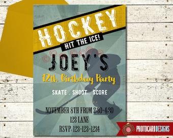 Hockey Birthday Invitation | Hockey | Digital | Hockey invitation | skate invitation | Hockey Birthday |  Ice Skate Birthday | Sport | Party