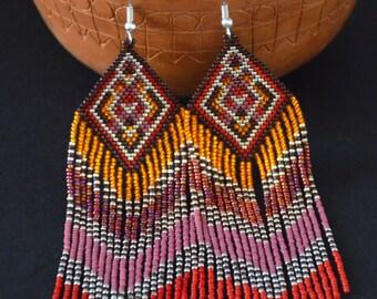 Seed bead earrings, beaded earrings, Native American style, boho earrings, fringe earrings, beadwork jewelry, ethnic style, tribal earrings