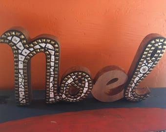 Noel wood mosaic word