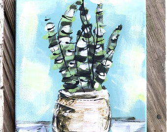 """Snake Plant Textured Modern Painting 8"""" x 10"""" Ready to Ship YelliKelli"""