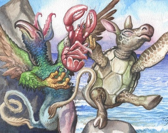 The lobster quadrille, in watercolor ORIGINAL happy home decor by David Platt, FREE shipping