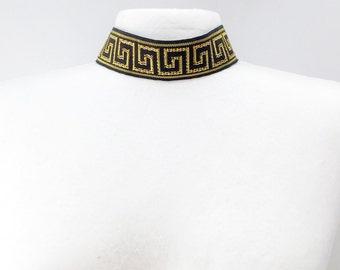 Handmade Designer Choker, Black or White and Gold, Sexy, Runway, Celebrity, Rich, Royal, Coachella, Greek Key Design(CatWalk Couture Choker)