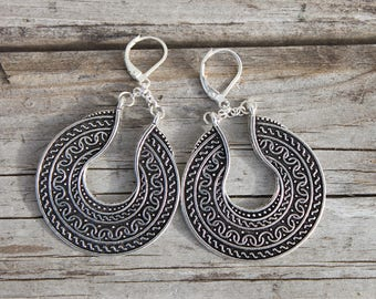Antique Silver Earrings Boho earrings Boho Jewelry Bohemian Earrings Bohemian Jewelry Gypsy Ethnic Dangle Drop Tribal Earrings Gift For Her