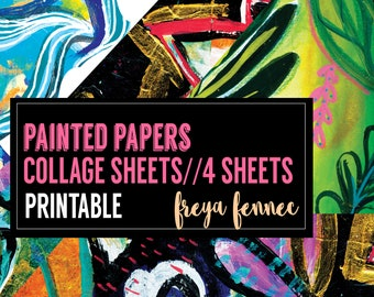 Painted Papers -DIGITAL collage sheets. Painted backgrounds + shapes. Floral and bright.