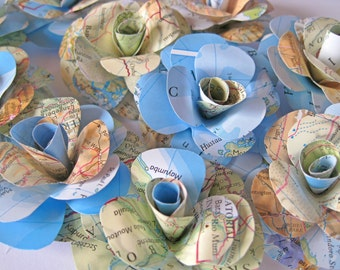 Set of 10 Travel Paper Roses, Map Paper Flowers, Stem Roses, Map Paper Wedding Decor, Eco Wedding, Craft Project, Vintage Paper Flower