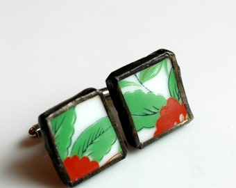 Broken China Cuff Links - Red and Green Troplical Flower