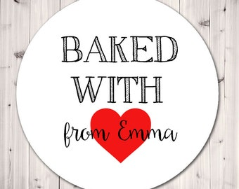 Personalized Stickers, Baked With Love Stickers, Personalized Stickers, Tags, Baked Goods, Label, Baking Stickers, Gift Tags - Set of 12