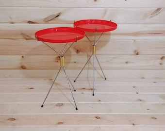 Pair of Red Mid Century Modern B & B Remembrance Folding Colapsing Tray Tables